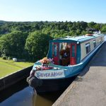 Cheshire Cat Silver Moon crossing the Pontcysyllte Aqueduct